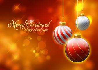 Weihnachten, Hintergrund, Christbaumkugeln, Postkarte
