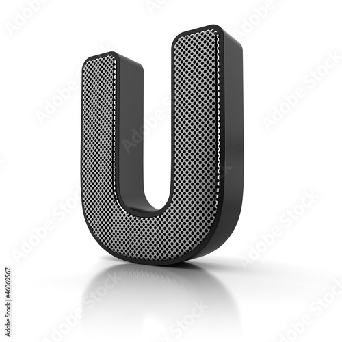 Letter U as a perforated metal object over white