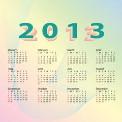 2013 calendar pastel color.