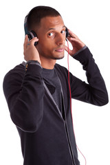 Young african american man listening to music