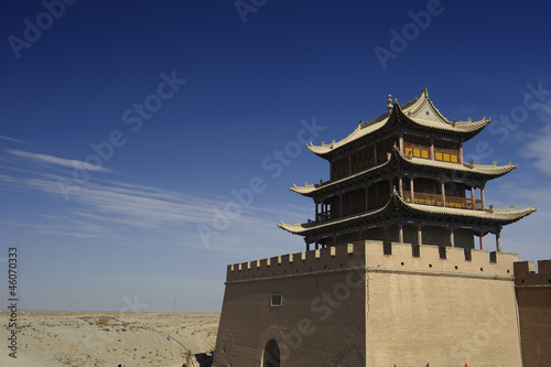 Jiayuguan Pass Tower on the Gobi Desert in GanSu,China