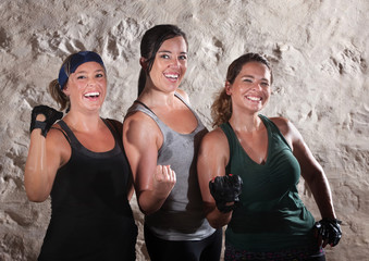 Three Boot Camp Style Workout Ladies Flex Their Biceps