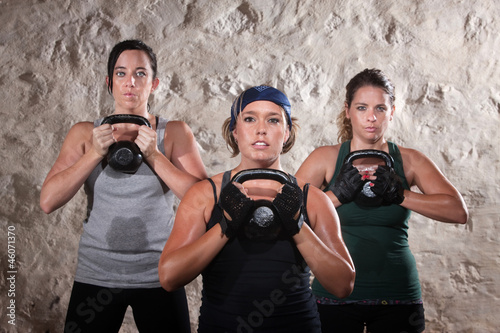 Ladies Lifting Kettlebells in Boot Camp Style Workout