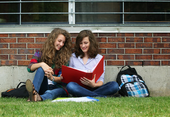 Friends study outside