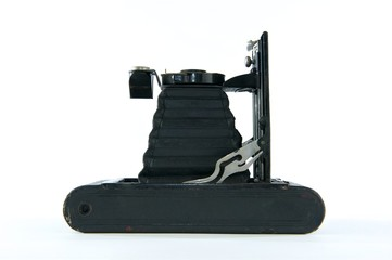 Black Vintage Folding Camera on Side