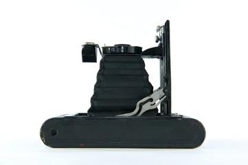 Black Vintage Folding Camera on Side