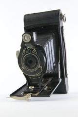 Black Vintage Folding Camera Vertical
