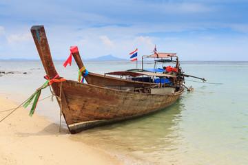 Longtail boats, Tropical beach, Tub Island, Andaman Sea, Thailan