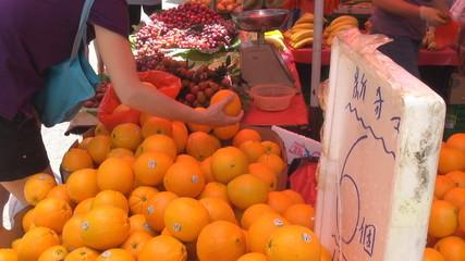 Fresh orange for sale, street market, Hong Kong