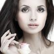 Beautiful  girl, isolated on a white, emotions, cosmetics