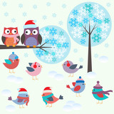Fototapety Birds and owls in winter forest