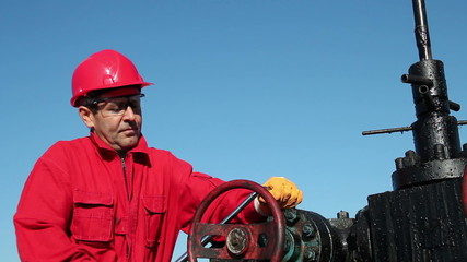 Oil Rig Valve Technician at Work
