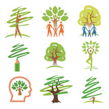 People and trees icons