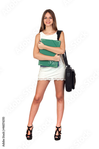 Young Woman with a Green Folder and Laptop Case