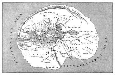 Antiquity : Map of the flat Earth - 5th century (bef.Christus)