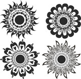 A set of flower tattoos