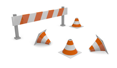 Pylons and barrier, 3d concept