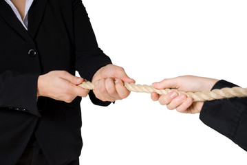 tug of war between two business people