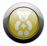 "Yellow Metallic Orb Button ""Pediatrics"""
