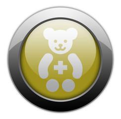 """Yellow Metallic Orb Button """"Pediatrics"""""""