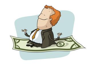 Businessman Flying on Dollar