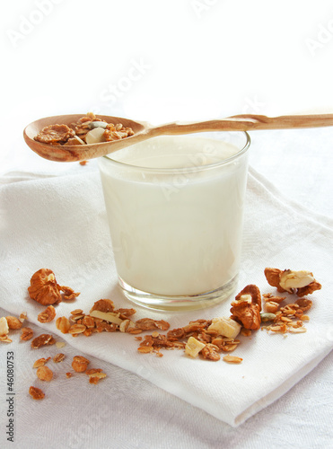 muesli and glass of milk