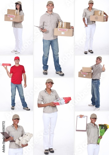 Collage of people delivering goods