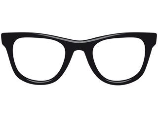 Schwarze Vektor Nerdbrille von vorne mit Lichteffekten