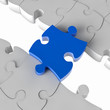 Blaues Puzzle als Brücke