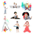 collection of young children - boy and girl - isolated over whit