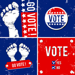 alternative vote banner with footprint background