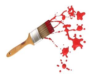 Brocha con Pintura Roja
