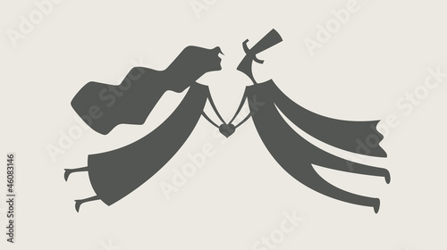 loving man and woman with heart vector illustration