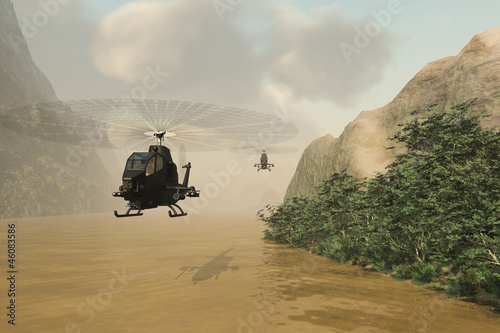 Attack helicopters on covert mission