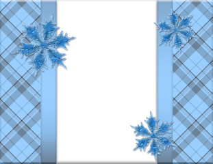 Blue and White Snowflake Frame for your message or invitation