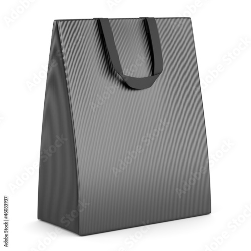 single blank gray shopping bag isolated on white background