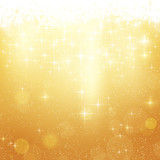 Fototapety Golden Christmas background with stars and lights