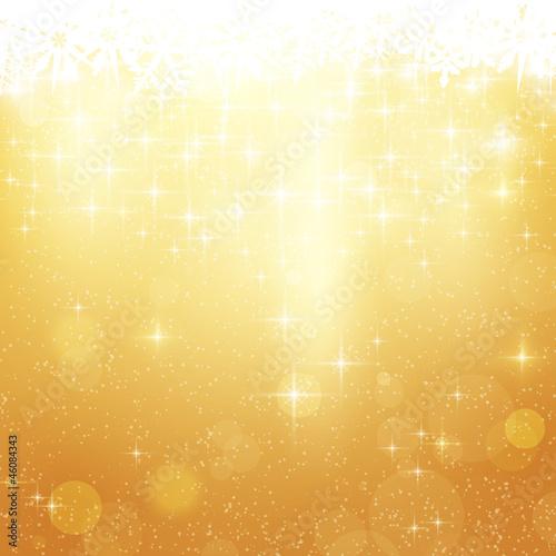 Złoty Bożenarodzeniowy tło z gwiazdami i światłami