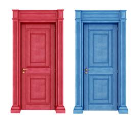 Red and blue doors vintage doors
