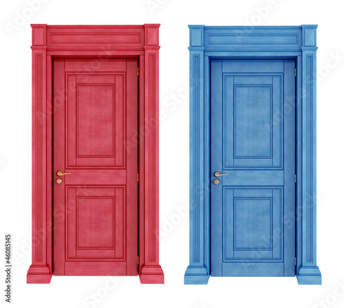 Red and blue doors vintage doors