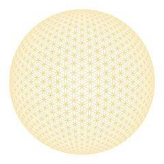 Blume des Lebens Isoliert - Gold Weiß 3D Kugel