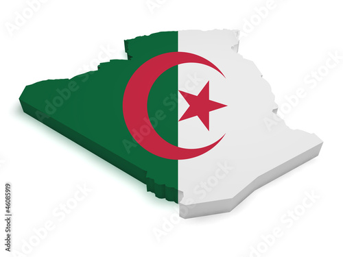 Algeria Map Flag Shape