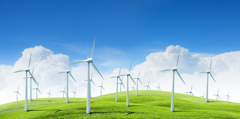 modern white wind turbines
