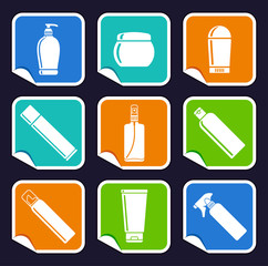 Bottles of cosmetic products on stickers