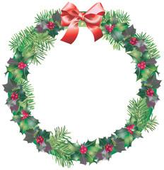 Couronne de Noël en feuillages de houx et sapin