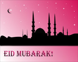 Beautiful greeting card for Eid Mubarak  Mosque