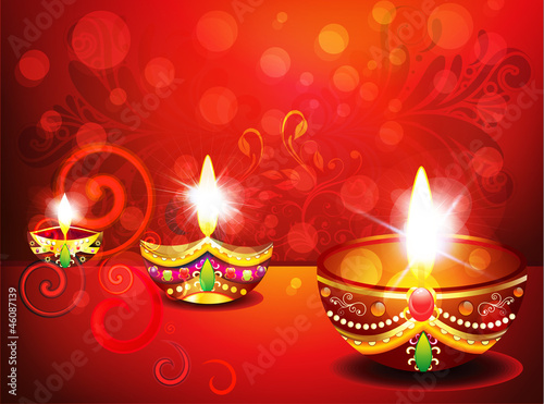 abstract diwali background with floral