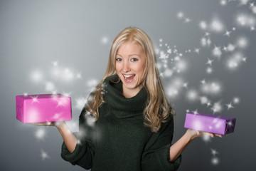 Frau mit tollen Geschenken