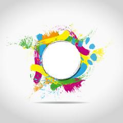 tâches multicolores sur fond blanc avec rond central