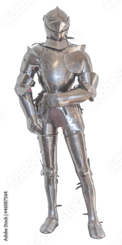 A vintage european full body armor suit. isolated - 46087564